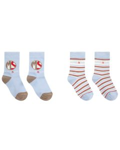 Mitch & Son Boys Cotton Pale Blue, Beige and Red  Socks (2 Pack)
