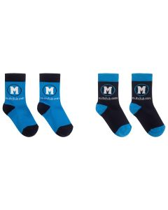 Mitch & Son Boys Cotton Navy and Bright Blue Socks (2 Pack)