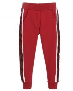 Monnalisa Girls Red Cotton Glittery Joggers