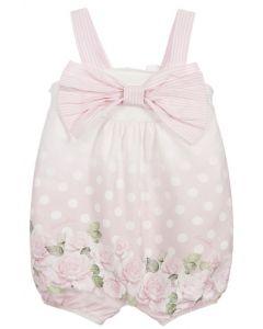 Monnalisa White & Pink Floral Cotton Shortie