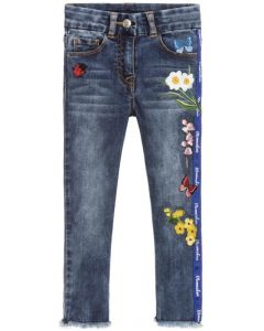Monnalisa Blue Denim Embroidered and Beaded Jeans