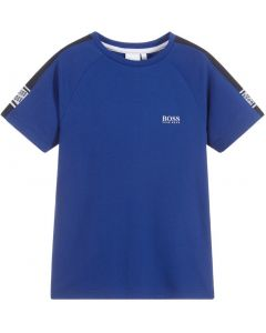 BOSS Kidswear Boys Navy Blue Taped Repeat Logo T-Shirt