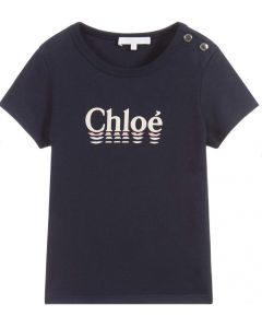 Chloé Girls Navy Blue Pink Logo T-Shirt