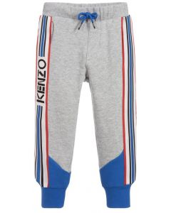Kenzo Kids Boys Grey and Cobalt Blue Cotton Logo Joggers