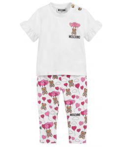 Moschino Baby White & Pink Balloon Toy Legging Set