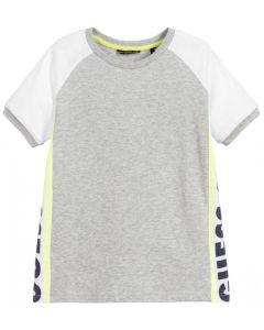 Guess Boys Grey Cotton Logo T-Shirt
