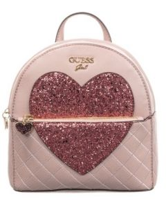 Guess Girls Pink Sparkly Heart Backpack (22cm)