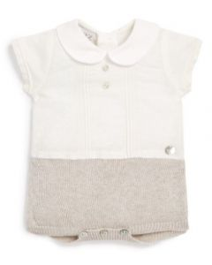 Paz Rodriguez Baby Boy Ivory and Beige Linen and Knit Shortie