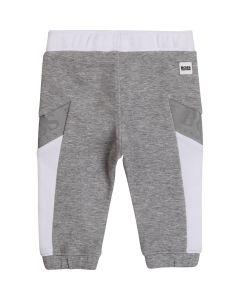 BOSS Kidswear Grey and White Cotton Logo Joggers