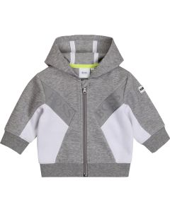 BOSS Kidswear Grey and White Hooded Zip-Up Top