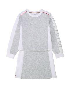 BOSS Kidswear Grey & White Jersey Dress