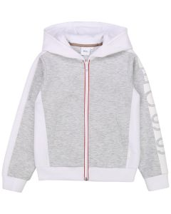 BOSS Girls Grey Side Stripe Zip-Up Top