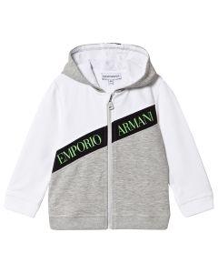 Emporio Armani Boys White & Grey Neon Green Logo Zip-Up Top