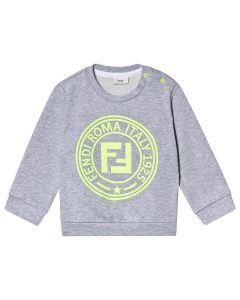 FENDI Baby Boys Grey Neon Yellow Stamp Logo Sweatshirt
