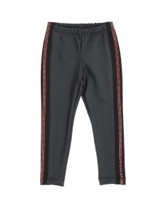 Monnalisa Girls Black and Red Faux Leather Trousers