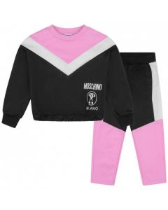 Moschino Kid-Teen Black and Pink MilanoTracksuit