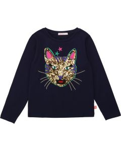 Billieblush Blue Cotton Sequin Cat Top