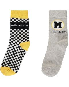 Mitch & Son Boys Grey and Black Weston Socks (2 Pack)