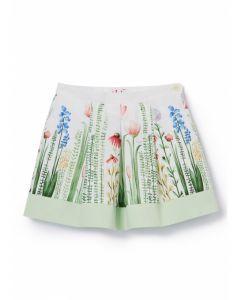 Il Gufo Green Floral Print  Skirt