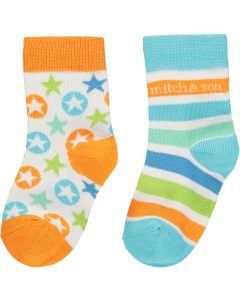 Mitch & Son Blue Cotton Julian Socks (2 Pack)