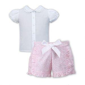 Sarah Louise Girls White Blouse and Pink Frill Shorts Set