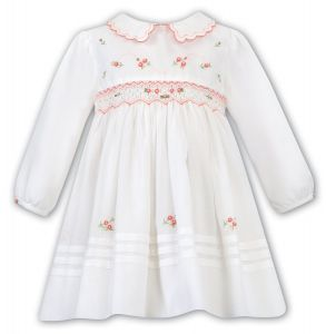 Sarah Louise Girls Ivory and Peach Hand-Smocked Dress