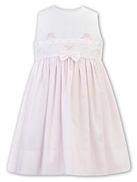 Sarah Louise White and Pink Cotton Embroidered Dress