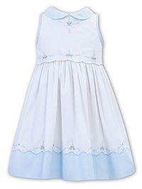 Sarah Louise White and Blue Cotton Embroidered Dress