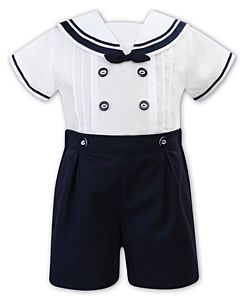 Sarah Louise Navy Blue Sailor Buster Suit