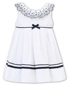 Sarah Louise White and Navy Broderie Anglaise Trim Dress