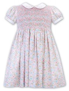 Sarah Louise Girls Pink and White Floral Collared Dress