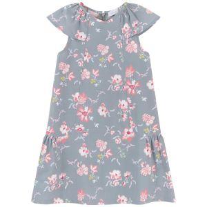 Tartine et Chocolat Girl's Grey And Pink Floral Dress