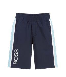 BOSS Kidswear Boys Navy Blue Silver Logo Shorts