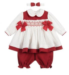 Pretty Originals Red & White Smocked Spot Dress Set