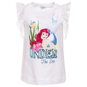 Monnalisa Girls White Disney Little Mermaid  T-Shirt