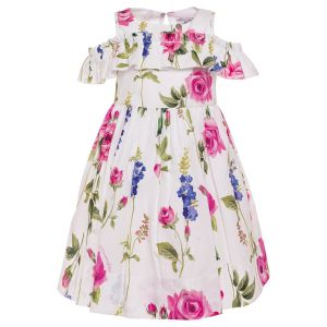 Monnalisa Floral Printed  Cotton Dress