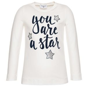 Monnalisa Girls Ivory Cotton You Are A Star Top