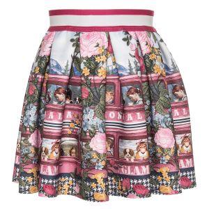 Monnalisa Pink Floral Neoprene Skirt