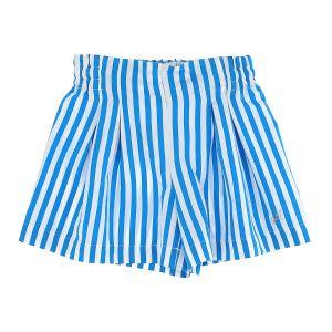 Monnalisa White and Turquoise Cotton Striped Shorts