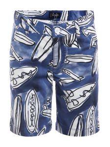 Il Gufo Boys Blue Cotton Surf Board Shorts