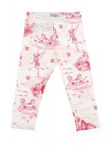 Monnalisa White and Pink Fairytale Print Leggings
