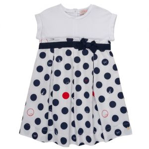 Lili Gaufrette White & Navy Blue Cotton Spotted Dress