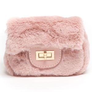 Monnalisa Pink Faux Fur Handbag (16cm)