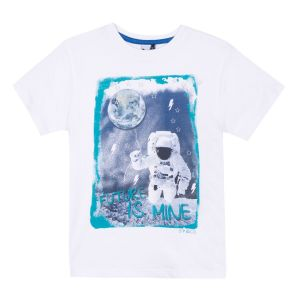 3Pommes Boy's White Cotton Space T-Shirt