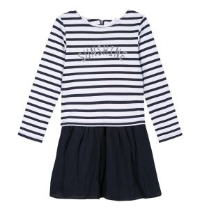 3Pommes White and Blue Striped Dress
