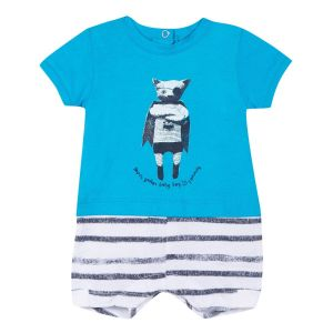 3Pommes Boy';s Blue Cotton Cat Shortie