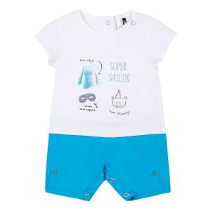 3Pommes Boy's Blue and White Cotton Shortie