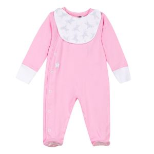 3Pommes Girl's Pink Cotton Babygrow with Bib