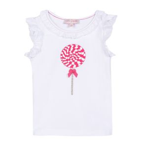 Lili Gaufrette Girl's White Lollipop T-Shirt