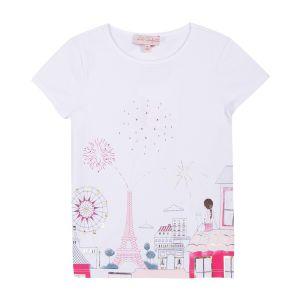 Lili Gaufrette Girl's White Paris Themed T-Shirt